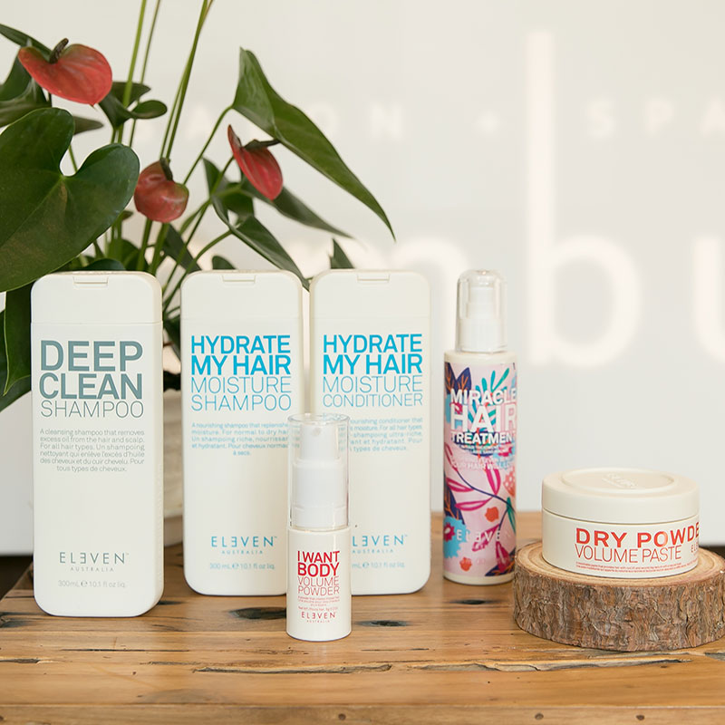 eleven australia haircare products are available at ombu salon + spa in edmonds, wa